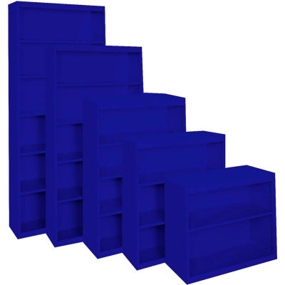 """Steel Cabinets USA BCA-367213-BL Bookcase All-Welded 36""""Wx13""""Dx72""""H Blue"""