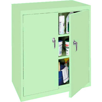 """Steel Cabinets USA Counter High Storage Cabinet All-Welded 36""""Wx18""""Dx42""""H Pastel Green"""