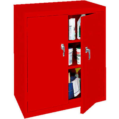 """Steel Cabinets USA Counter High All-Welded Storage Cabinet, 36""""Wx18""""Dx42""""H, Red"""