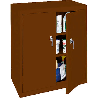 """Steel Cabinets USA Counter High All-Welded Storage Cabinet, 36""""Wx18""""Dx42""""H, Walnut"""