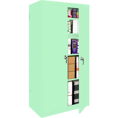 """Steel Cabinets USA Fixed Shelf All-Welded Storage Cabinet, 30""""Wx15""""Dx72""""H, Pastel Green"""