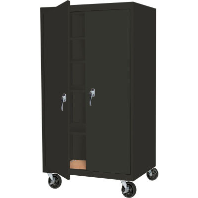 "Steel Cabinets USA Mobile Cabinet All-Welded 36""Wx24""Dx60""H Charcoal"