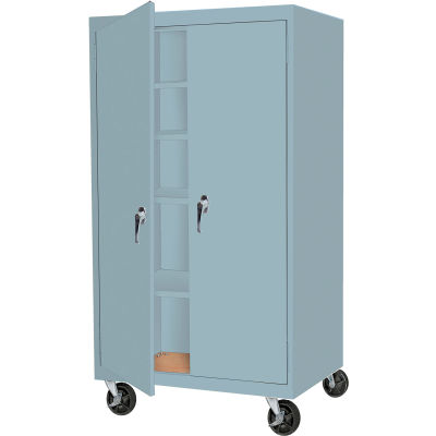 """Steel Cabinets USA MAAH-3624RB-DB Mobile Cabinet All-Welded 36""""Wx24""""Dx60""""H Denim Blue"""