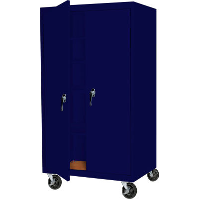 """Steel Cabinets USA Mobile All-Welded Cabinet, 36""""Wx24""""Dx72""""H, Navy"""