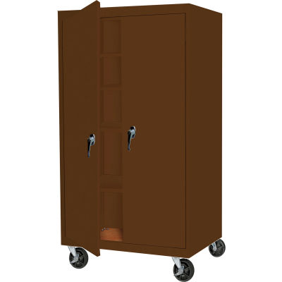 """Steel Cabinets USA Mobile All-Welded Cabinet, 36""""Wx24""""Dx78""""H, Walnut"""