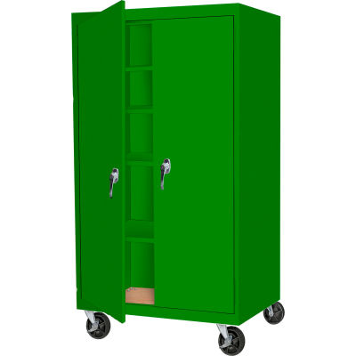 "Steel Cabinets USA MAAH-48662RB-L-GRN Mobile Cabinet All-Welded 36""Wx24""Dx66""H Leaf Green"