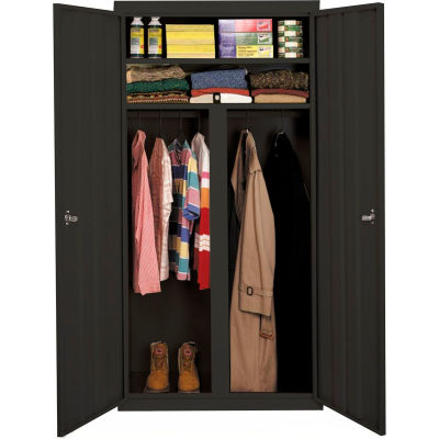 """Steel Cabinets USA W-367224DS-C Wardrobe Cabinet All-Welded 36""""Wx24""""Dx72""""H Charcoal"""
