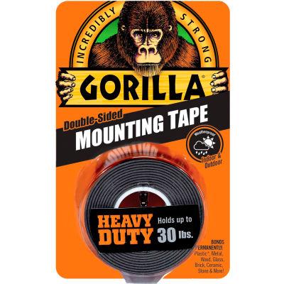 "Gorilla Heavy Duty Black Mounting Tape, 1"" x 60"" - Pkg Qty 6"