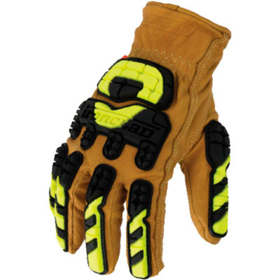 Ironclad ULD-IMPC5-02-S Ultimate Leather 360 Cut w/Impact Gloves, 1 Pair, Tan/Black/Yellow, Small