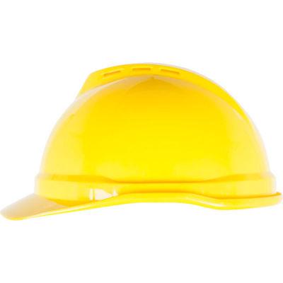 MSA V-Gard® 500 Cap Vented 6-Point Fas-Trac III, Yellow - Pkg Qty 20