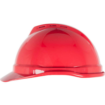 MSA V-Gard® 500 Cap Vented 6-Point Fas-Trac III, Red - Pkg Qty 20