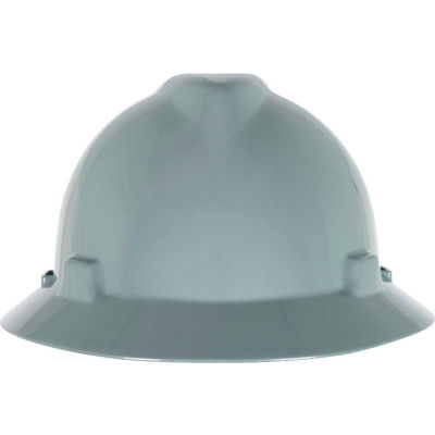 MSA V-Gard® Slotted Full-Brim Hat With 1-Touch Suspension, Gray - Pkg Qty 20