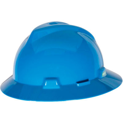MSA V-Gard® Slotted Full-Brim Hat With 1-Touch Suspension, Blue - Pkg Qty 20