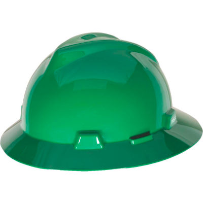 MSA V-Gard® Slotted Full-Brim Hat With 1-Touch Suspension, Green - Pkg Qty 20
