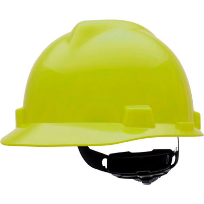 MSA V-Gard® Slotted Cap With Fas-Trac III Suspension, Hi-Viz Yellow - Pkg Qty 20