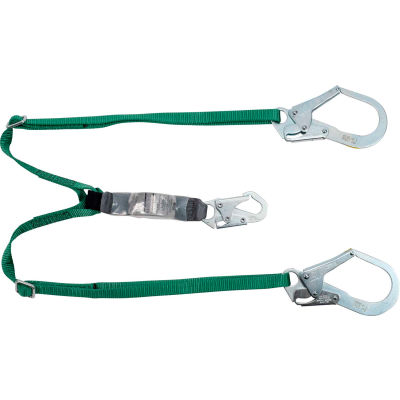 V-Series® 10188101 Standard Twin-Leg Adjustable Lanyard, 6',36Cl Large Snaphooks