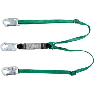 V-Series® 10190399 Standard Twin-Leg Adjustable Lanyard,6',36C SM Snaphooks,LT Weight Worker