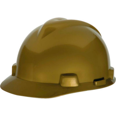 MSA V-Gard® Slotted Cap With Fas-Trac III Suspension, Gold With Staz-On Suspension - Pkg Qty 20