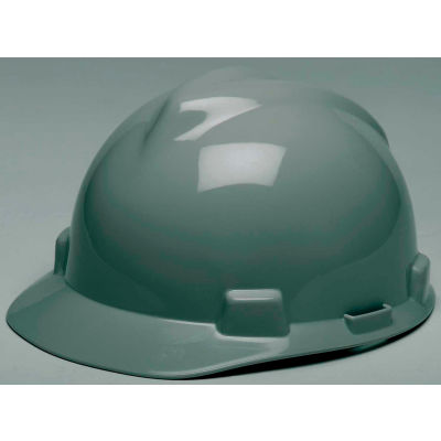 MSA V-Gard® Hard Hats, Front Brim, Fas-Trac® Suspension, Navy Gray, 475364