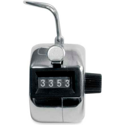 Baumgartens Palm-Sized 4-Digit Tally Counter Silver/Black