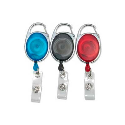 """Baumgartens® Quick Clip ID Card Reel, 30"""" Cord, Black/Blue/Red, 3/Pack"""