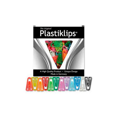 "Baumgartens® Plastiklips Paper Clips, X-Large, 2-3/8"" x 1-5/16"", Assorted, 50/Box"