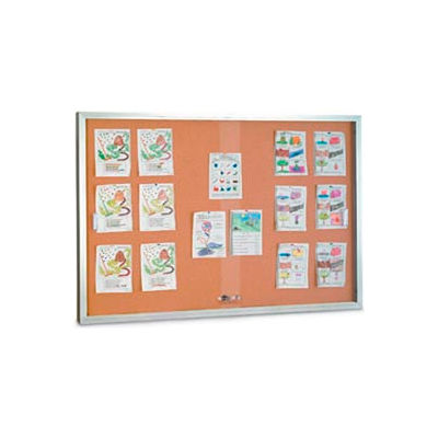 """United Visual Products 72""""W x 48""""H Sliding Glass Door Corkboard with Satin Frame"""