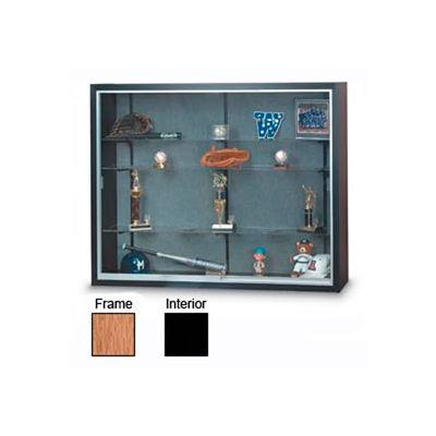 "60"" x 48"" x 16"" Oak Laminate Display Case w/Three Shelves and Black Interior"