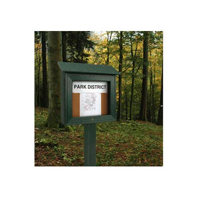"""United Visual Products 16""""W x 34""""H Mini Cork Message Board with Woodland Green Frame"""