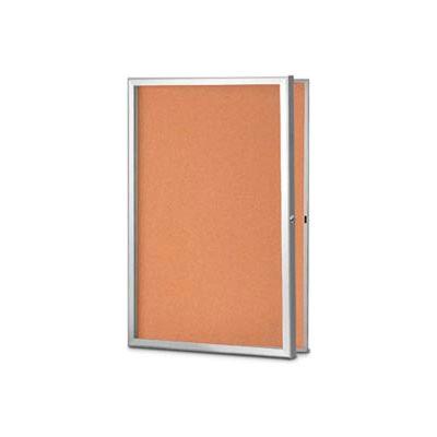 "United Visual Products 48""W x 36""H Slim Style Radius Framed Corkboard with Satin Frame"