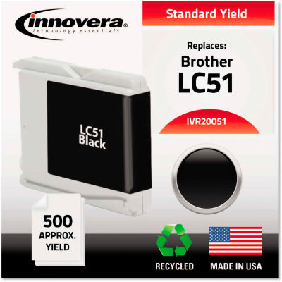 Innovera® Remanufactured LC51BK Ink, 500 Page-Yield, Black