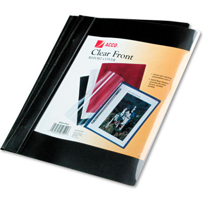 """ACCO Vinyl Report Cover, Prong Clip, Letter, 1/2"""" Capacity, Clear Cover/Black Back"""