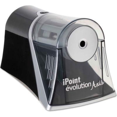 "Westcott® iPoint Evolution Axis Pencil Sharpener, AC-Powered, 4.25"" x 7"" x 4.75"", Black/Silver"