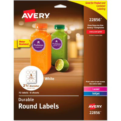 """Avery® Durable White Round ID Labels, 2-1/2"""" diameter, White, 72/Pack"""