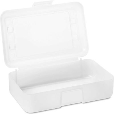 "Advantus Gem Polypropylene Pencil Box with Lid, Clear, 8-1/2"" x 5-1/4"" x 2-1/2"""