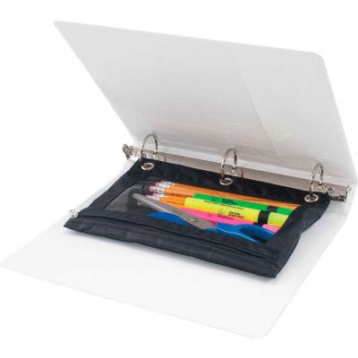 """Advantus Binder Pencil Pouch, 10"""" x 7-3/8"""", Black/Clear, 3/Pack"""