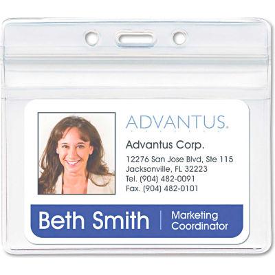 "Advantus® Resealable ID Badge Holder, Horizontal, 3-3/4"" x 2-5/8"", Clear, 50/Pack"