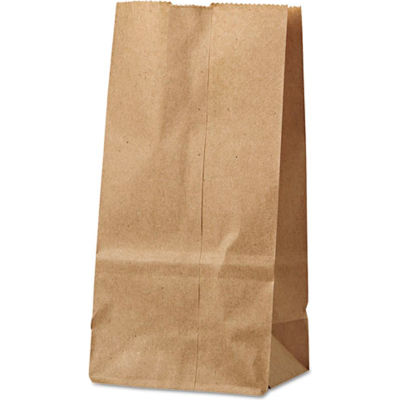 "Duro Bag Paper Grocery Bags #2, 4-5/16""W x 2-7/16""D x 7-7/8""H, Kraft, Pack of 200"