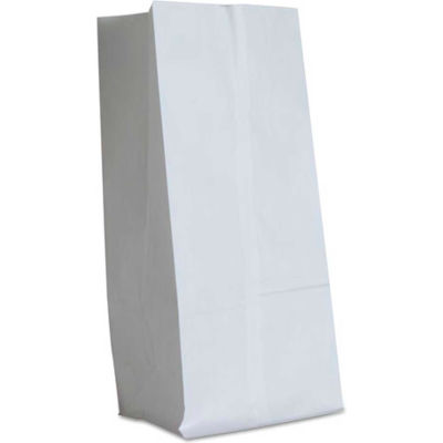 """Paper Grocery Bags, #16, 7-3/4""""W x 4-13/16""""D x 16""""H, White, 500 Pack"""