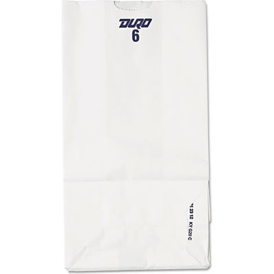 """Paper Grocery Bags #6, 6""""W x 3-5/8""""D x 11-1/16""""H, White, 500 Pack"""