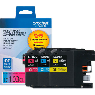 Brother® LC1033PKS, LC-103, Innobella High-Yield Ink, 600 Page-Yield, 3/Pack