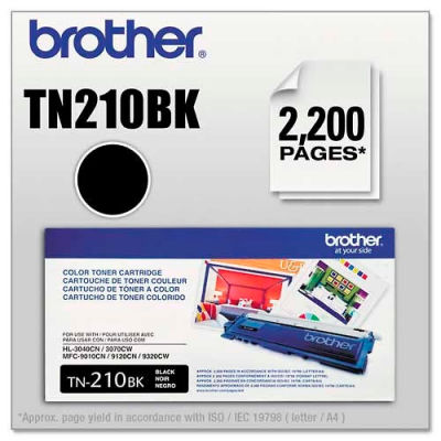 Brother® TN210BK Toner, 2200 Page-Yield, Black