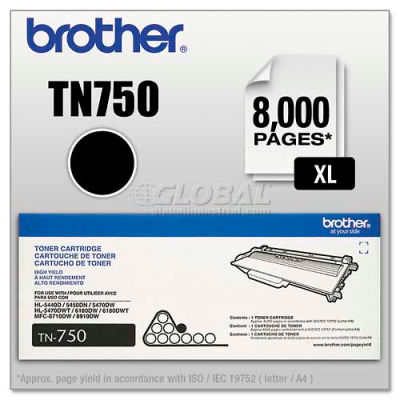 Brother® TN750 (TN-750) High-Yield Toner, 8000 Page-Yield, Black