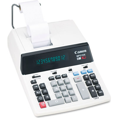 """Canon® 12-Digit Calculator, MP21DX, 2 Color Printing, Sales Tax Key, 9-1/8"""" X 12"""" X 3"""", White"""