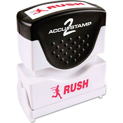Accustamp2 Shutter Stamp with Microban, Red, RUSH, 1 5/8 x 1/2