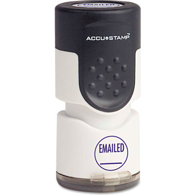 """ACCUSTAMP® Pre-Inked Round Stamp with Microban, EMAILED, 5/8"""" dia, Blue"""