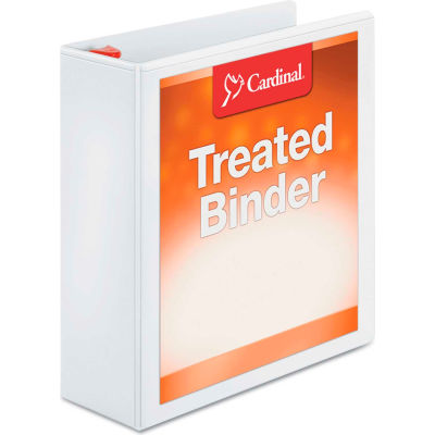 "Cardinal® Treated ClearVue Locking Slant-D Ring Binder, 3"" Capacity, White"
