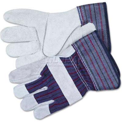 "MCR Safety 12010XL Split Leather Palm Gloves, Gray, C-Grade, 2-1/2"" Rubber Safety Cuff, 1-Pair"