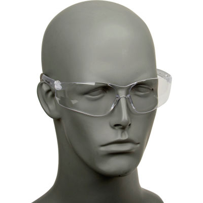 MCR Safety BK110 Crews BearKat Safety Glasses, Clear Frame, Clear Lens, Anti-Scratch, 1-Pair