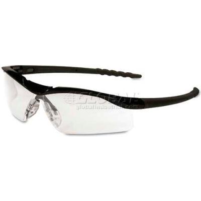 MCR Safety DL110 Crews Dallas Wraparound Safety Glasses, Black Frame, Clear Lens, Hard-Coat, 1 Pair